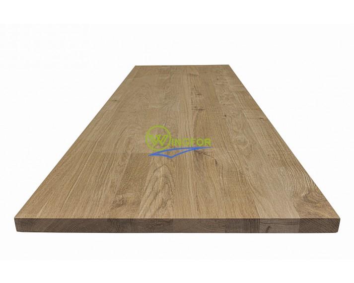 Blat kuchenny 63x160x3,8 cm, dąb lity, surowy o szer. 63 cm, dł. 160 cm i gr. 3,8 cm