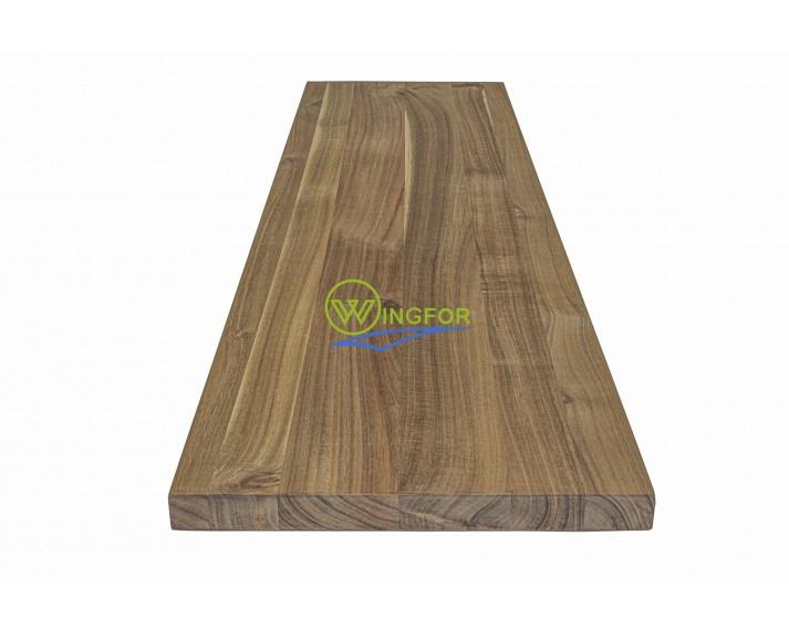 Parapet wewnętrzny, solid, surowy z akacji azjatyckiej, 123x33x3.0 cm, o dł. 123 cm, szer. 33 cm i gr. 3,0 cm