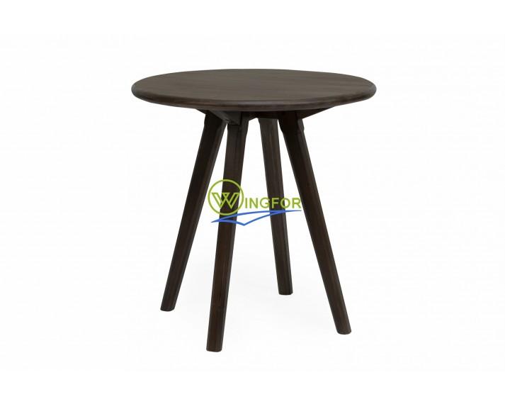 Stolik okrągły z akacji azjatyckiej, lakierowany PU kolorem ciemny orzech średnica φ = 60 cm