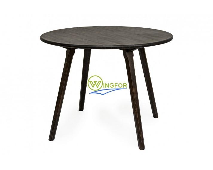 Stół okrągły z akacji azjatyckiej, lakierowany PU kolorem ciemny orzech śr. 100 cm