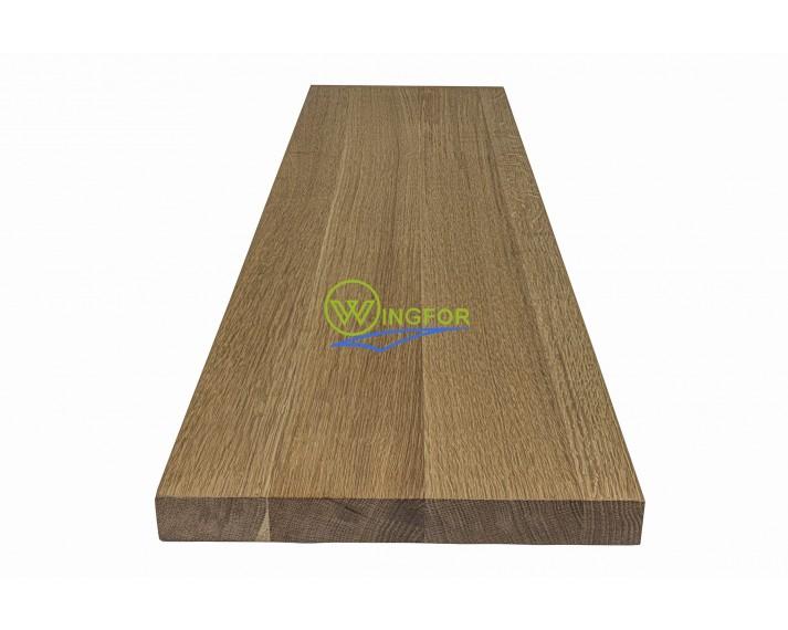 Parapet 123x30x3,5 cm, lity dąb amerykański, surowy, o długości 123 cm, szerokości 30 cm i grubości 3,5 cm