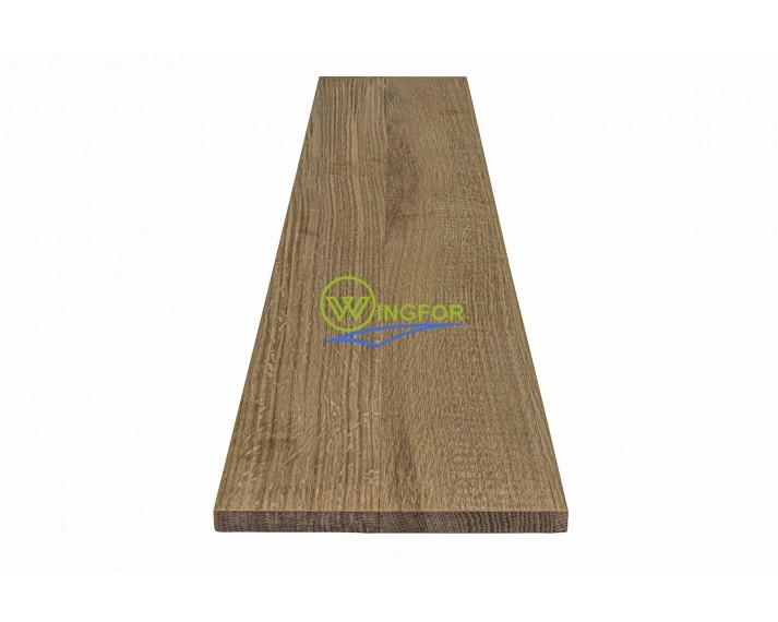 Podstopień schodowy 16x110x1,6 cm, lity dąb amerykański, surowy, o szerokości 16 cm, długości 110 cm i grubości 1,6 cm