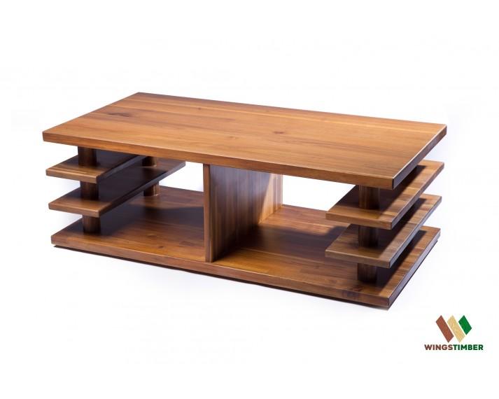 Ławka kawowa z akacji azjatyckiej 120 x 40 x 60 cm, grubość desek 2,6 cm