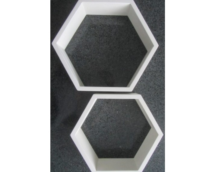 Komplet 3 półek dekoracyjnych sześciokąt z drewna akacji 43x31, 43x31 i 37x32 cm