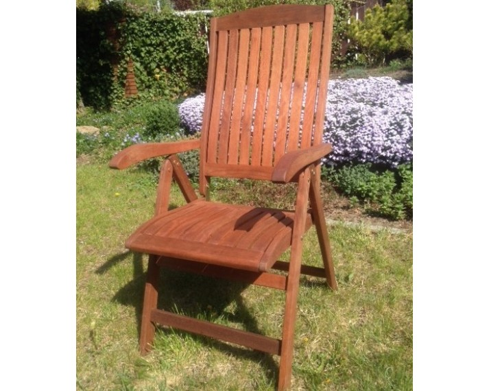 Krzesło ogrodowe składane 5-pozycyjne z drewna akacji