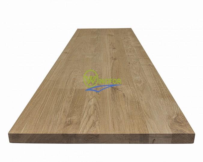 Blat kuchenny 63x160x3,5 cm, dąb lity, surowy o szer. 63 cm, dł. 160 cm i gr. 3,5 cm