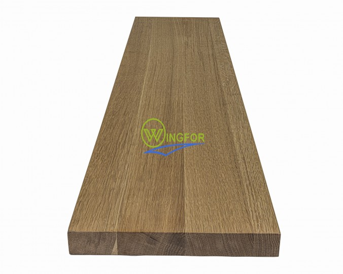 Parapet 123x30x3,8 cm, lity dąb amerykański, surowy, o długości 123 cm, szerokości 30 cm i grubości 3,8 cm