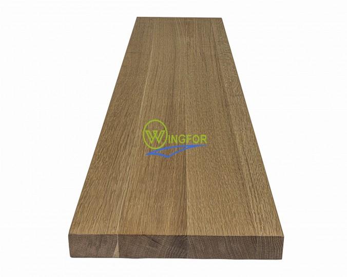 Parapet 135x30x3,8 cm, lity dąb amerykański, surowy, o długości 135 cm, szerokości 30 cm i grubości 3,8 cm
