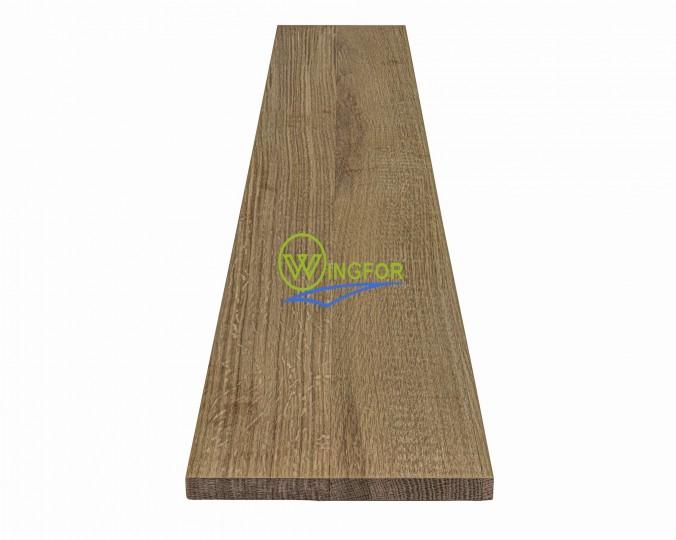 Podstopień schodowy 18x110x1,6 cm, lity dąb amerykański, surowy, o szerokości 18 cm, długości 110 cm i grubości 1,6 cm